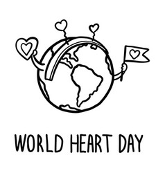 happy world heart day concept background hand vector image