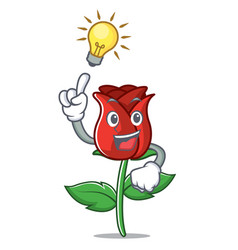 have an idea red rose mascot cartoon vector image
