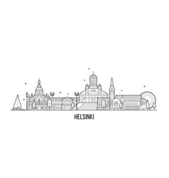 helsinki skyline finland city building line vector image