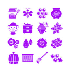 honey icons set neon silhouette style beekeeping vector image