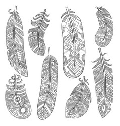 indian tribal feathers fashion aztec bird vector image