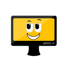 isolated happy computer screen emote vector image