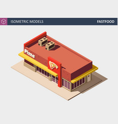 isometric fast food or pizzerie building vector image