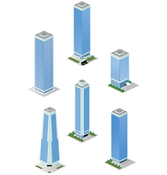 Isometric Tall City Office Buildings Pack vector