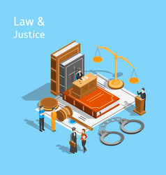 Law justice composition concept 3d isometric view vector