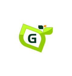 leaf initial g logo design template vector image