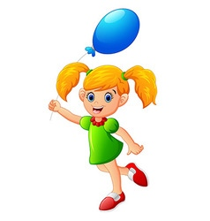 Little girl holding balloon vector