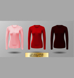Long sleeve blank shirt pink red and vector