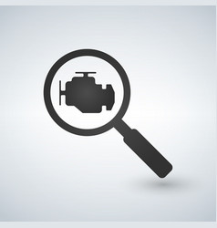 magnifying glass with check engine icon engine vector image