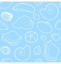 Marine seamless pattern with sea shells vector