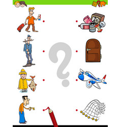 Match men and objects game for kids vector