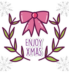 merry christmas celebration red gift bow branches vector image