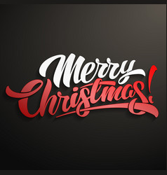 merry christmas inscription lettering design vector image