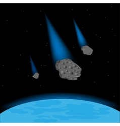 Meteorites fall on planet vector
