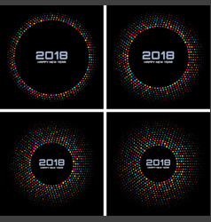 New year 2018 card set background vector