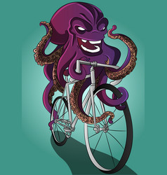 Octopus on a bike funny animal riding a bicycle vector