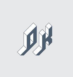 Ok - monogram or logotype isometric 3d font for vector