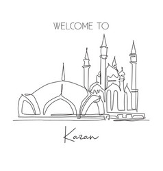 one continuous line drawing kul sharif mosque vector image