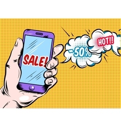 Online Hot Sale Comic Style Design vector image