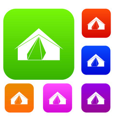 open tent set color collection vector image