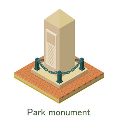 Park monument icon isometric style vector