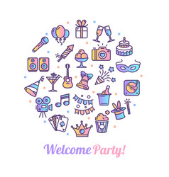 party banner round design template thin line icon vector image