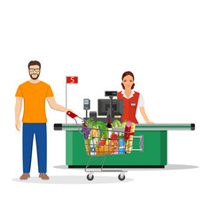 people shopping in supermarket vector image