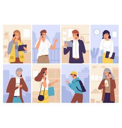 people talking phones women and men call vector image