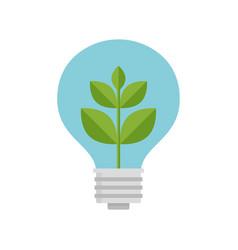 plant inside light bulb vector image