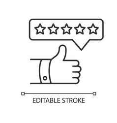 Product review pixel perfect linear icon thumbs vector