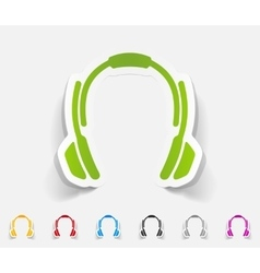 Realistic design element headphones vector