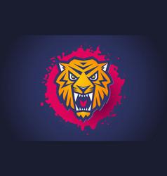 retro sport logo with head a tiger vector image