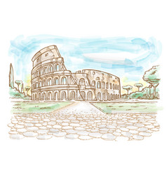 rome colosseum hand drawn watercolor vector image