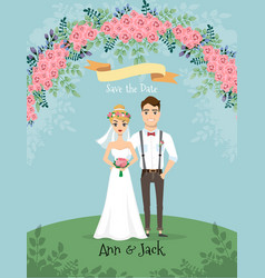 save date wedding invitation with bride and vector image