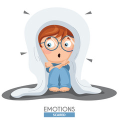 Scared kid emotion vector