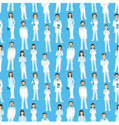 seamless pattern with cheerful doctors vector image