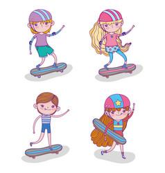 Set children play skateboards and helmet vector