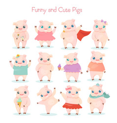 set of funny and cute little vector image