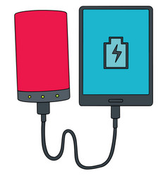 Set of smartphone charging via power bank vector