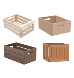 set wooden boxes collection boxes made of vector image