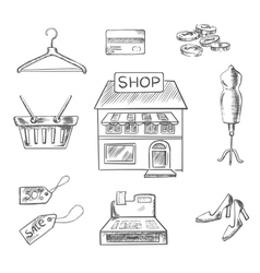 Shopping and retail sketch icons vector