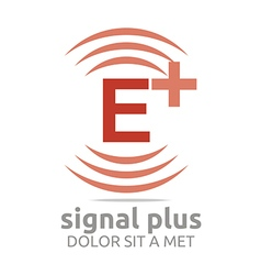 Signal letter e plus red alphabet wireless vector