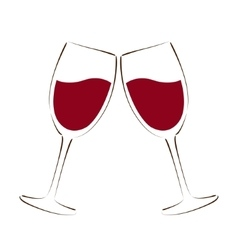 Sketched glass of red wine vector