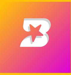 Star inside b letter gradient web icon vector