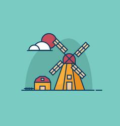 summer windmill and hut flat design vector image