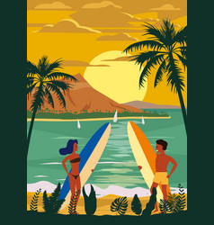 Surfers man and woman couple on beach sunset vector