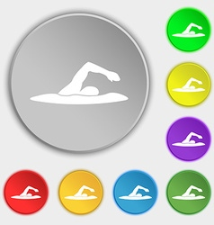 Swimmer icon sign Symbol on eight flat buttons vector