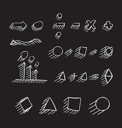 Thin hand drawn arrows geometric shapes shadow vector