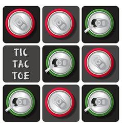 Tic-tac-toe soda can or beer vector