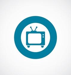 Tv icon bold blue circle border vector